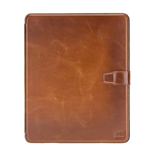 Solo Pelle magnetische abnehmbare Hülle geeignet für Apple iPad Pro 12,9' 2020 + 2021 Hülle Echtleder Case aus echtem Leder. Unterstützt Pencil 2 und magnetisches Laden (Cognac Braun Effekt)