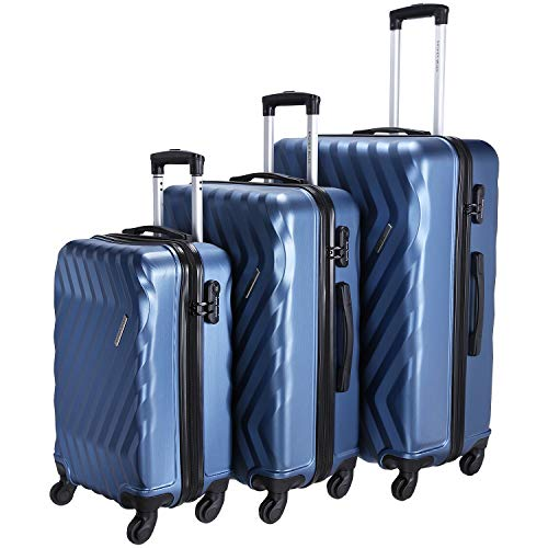 Nasher Miles Lombard 20, 24, 28 Inch ,Set of 3, Hard-Sided, Polycarbonate Luggage, Blue 55 , 65 and 75 cm Trolley Bag