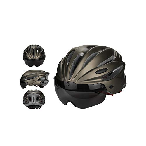 Not application Casco de Bicicleta para Adultos de 17 Agujeros Casco de Bicicleta de Carretera y montaña con Gafas y Visera para Hombres/Mujeres Casco de Ciclismo Casco de Montar