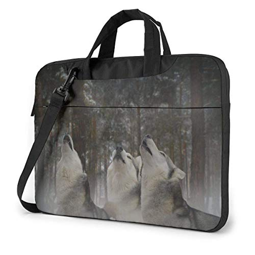 Lsjuee Howl at The Moon Threesome Fun Laptop Case Laptop Shoulder Bag 13 14 15.6 Inch,Multi-Functional Notebook Sleeve Carrying Case with Strap for Most Laptops
