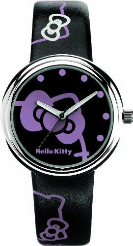 Hello Kitty Hello Kitty - Reloj analógico de mujer de cuarzo con correa de aleación negra