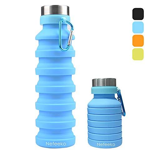 Nefeeko Faltbare Wasserflaschen, 550ML Faltbare Auslaufsicher Sportflasche, BPA Frei...