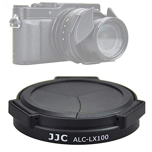 JJC Black ACLX100 Auto SELF-RETAINING Protective Lens Cap for Panasonic Lumix LX100 / LX100 II/ Leica D-LUX Typ 109 D-LUX 7, LX100II Mark II M2 Lens Cap, LEICA D LUX 7 Digital Camera Lense Cap