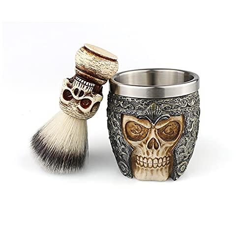 Juego de brochas y tazas de afeitar Copa de crema de afeitar de madera Cepillos de afeitar sintéticos para peluquero para hombres-B