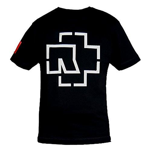 Rammstein Rammstein Herren T-Shirt Logo Offizielles Band Merchandise Fan Shirt schwarz mit mehrfarbigem Front und Seiten Print (L, Schwarz)