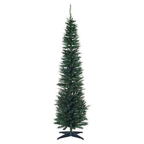 HOMCOM Unlit Slim Noble Fir Hinged Artificial Christmas Tree with Realistic Plastic Branches and 390 Tips, 7' Tall, Green