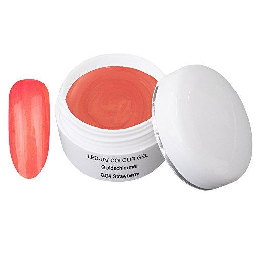 LED UV couleur gel or shimmer G04 Strawberry 5ml