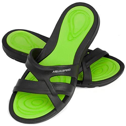 Aqua Speed Set Badelatschen für Damen + Mikrofasertuch | Duschsandalen Frauen | Badeslipper leicht | Sandalen & Slides | F:38, Gr. 42 | Panama