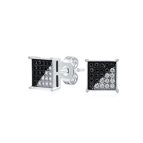 Geometric Black White Cubic Zirconia Micro Pave CZ Square Stud Earrings For Women For Men 925 Sterling Silver 8MM