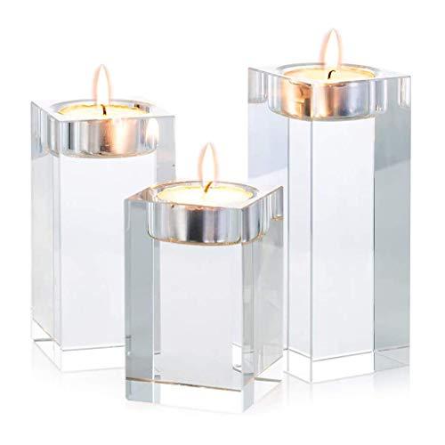 Kyman Kristall-Teelichthalter-Set, Kerzenhalter, Kandelaber, kreatives Ornament für Zuhause, Esstisch und Bar, Hochzeit, Weihnachtsdekoration