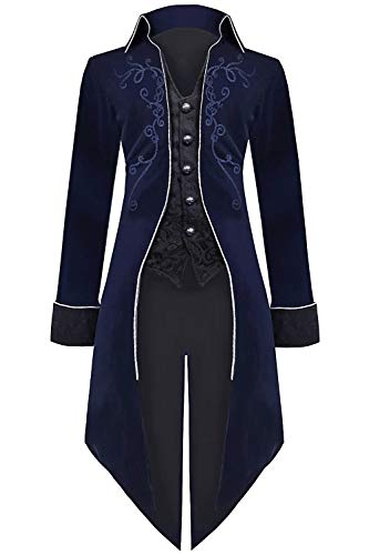 Medieval Steampunk Tailcoat Halloween Costumes for Men, Renaissance Pirate Vampire Gothic Jackets Vintage Warlock Frock Coat (XXL, Blue)