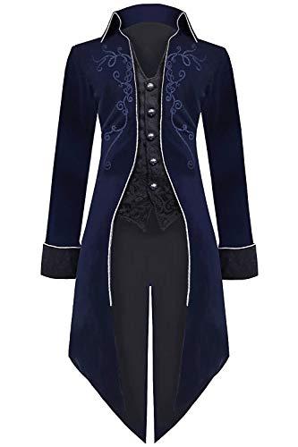 Medieval Steampunk Tailcoat Halloween Costumes for Men, Renaissance Pirate Vampire Gothic Jackets Vintage Warlock Frock Coat (XXL, Blue)