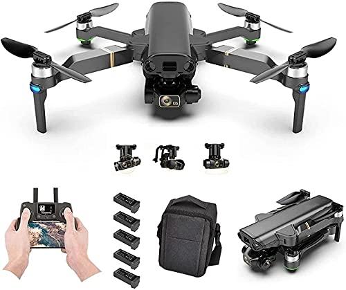 JJDSN Drone GPS con cámara 8K para Adultos, 1080P HD Video 3-Axis Gimbal Auto Return Home Sígueme Quadcopter RC Plegable con baterías y Estuche de Transporte