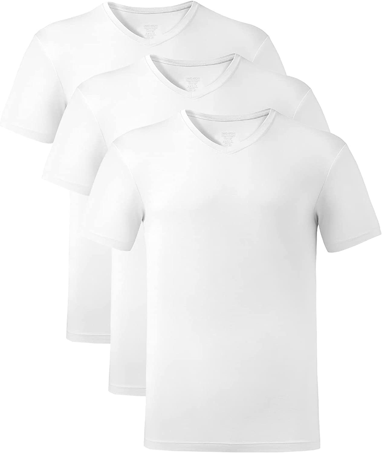 DAVID ARCHY Men's Undershirts Soft Bamboo Rayon V-Neck Breathable T-Shirts in 2 or 3 Pack
