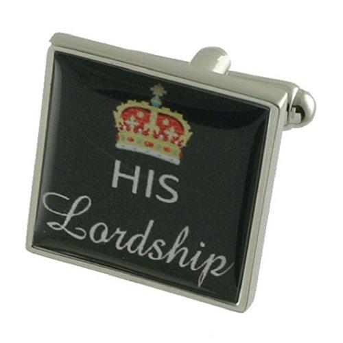 HIS Lordship Design lourde solide Argent sterling 925 Boutons de manchette + cadeau personnalisé Message Boîte à boutons de manchette