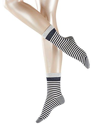ESPRIT Damen Socken Fold Stripe - 83% Baumwolle , 1 Paar, Blau (Marine 6120), Größe: 39-42