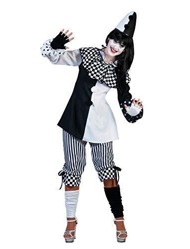 Pierro´s Kostüm Harlekin Dame Clown Damenkostüm Oberteil Hose Größe 40/42 für Karneval, Fasching