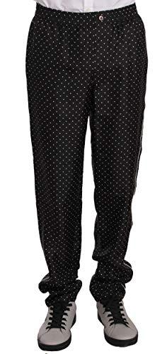 Dolce & Gabbana Calças Black Dotted Silk Lounge Sleepwear 48 / M - 37111956865173