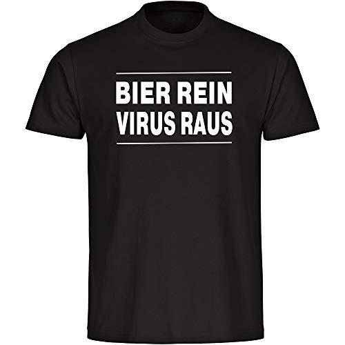 Coole-Fun-T-Shirts - Maglietta da uomo con scritta 'Bier rein - Virus Raus', taglia S - 5XL, coronaviren covid 19 covid-19 Viren Virus Quarantäne, colore: Nero Nero  XL
