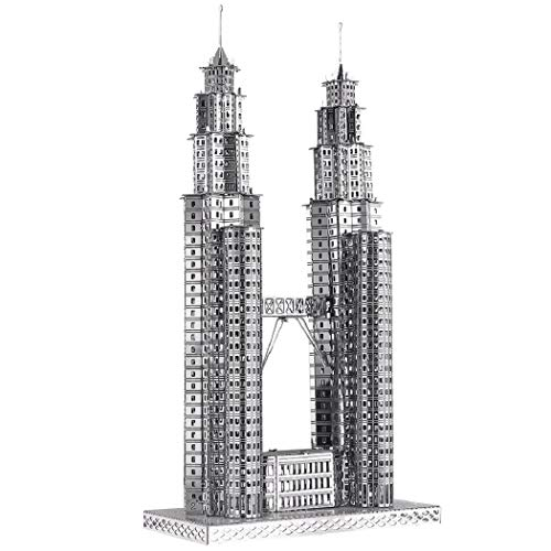 Piececool 3D Metal Model Kits-Petronas Towers-Famous Landmarks Architecture Model Kit-DIY 3D Metal...