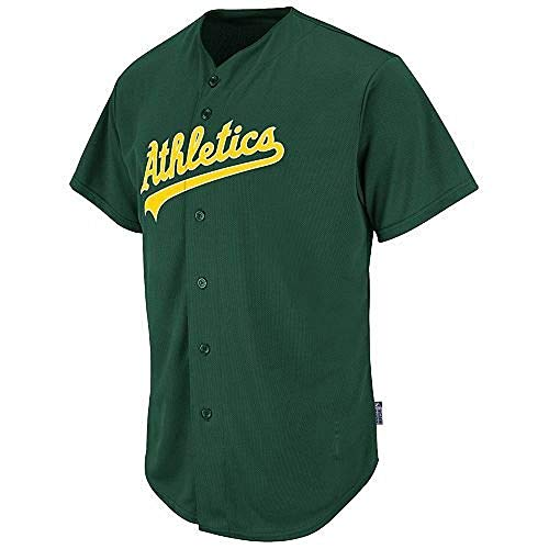 Adult Medium Oakland Athletics Full-Button Blank Back Major League Baseball Cool-Base Replica MLB Jersey Green
