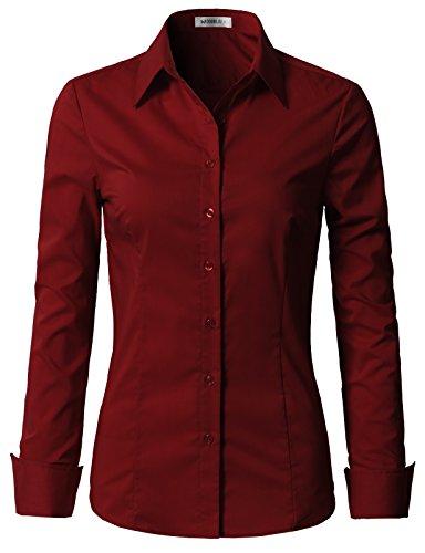 NINEXIS Womens Basic Long Sleeve Button Down Slim Fit Blouse Burgundy 1X