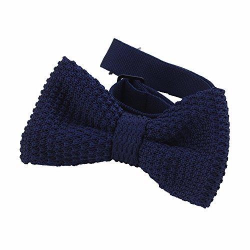 DonDon® Herren Strick Fliege gebunden und längenverstellbar 11 x 6 cm blau