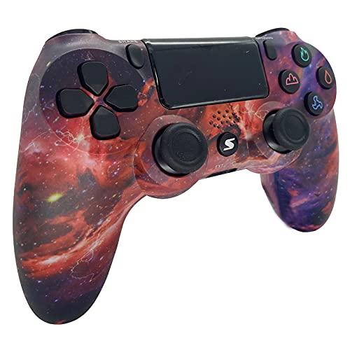 Jnsio Wireless Controller für PS4 Slim/PS4 Pro, USB Controller für PC, Bluetooth Remote Gamepad, mit einstellbarem Turbo und Dual Vibrazione Spiele Handkonsolen(Lieferzeit: 3-5 Tage)(Red Starry Sky)