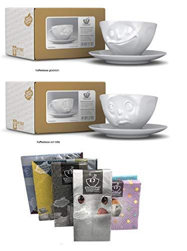 FIFTYEIGHT PRODUCTS Kaffeetassen 2er Set + Servietten, 200 ml, Och Bitte+GLÜCKLICH
