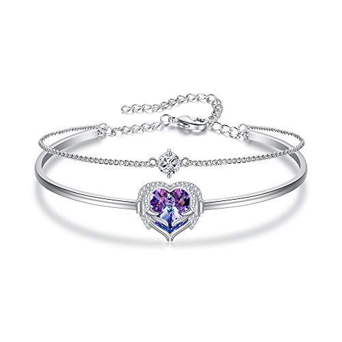 Flyonce Angel Wing Heart Bracelet Embellished with Swarovski Crystal Purple Love Heart Jewelry Gift for Women Girls