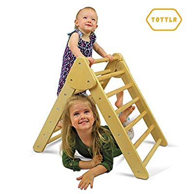 TOTTLR Pikler Triangle - Montessori Toddler Climber - Indoor Foldable Climbing Toys for Toddler Play, Balance, Muscle Strength and Coordination