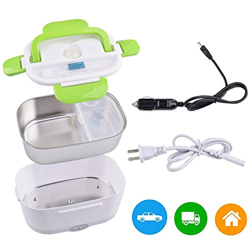 Car Electric Lunch Box, Portable Food Warmer Heater, Food-Grade Stainless Steel Tray, 12V & 110V 40W Adapter, Car Truck Home Work Use, Spoon and 2 Compartments Included, Green…