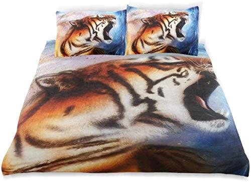 Duvet Cover Set Gentle Portrait Tiger Computer Collage Color Decorative 3 Piece Bedding Set with 2 Pillow Shams