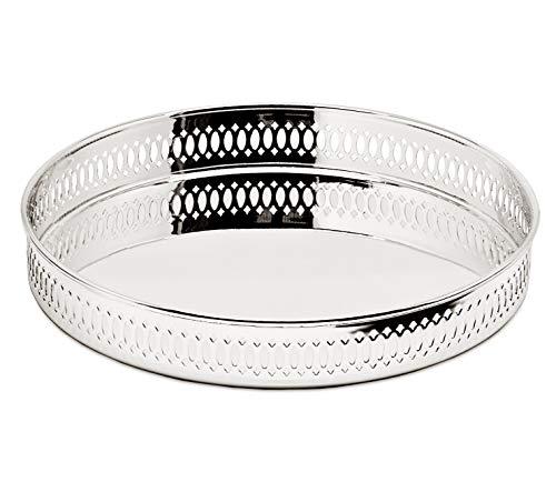 EDZARD Serviertablett Galerietablett Coro, rund, edel versilbert, anlaufgeschützt, Durchmesser 23 cm, Höhe 3,5 cm, Silberteller mit Spiegelglanz