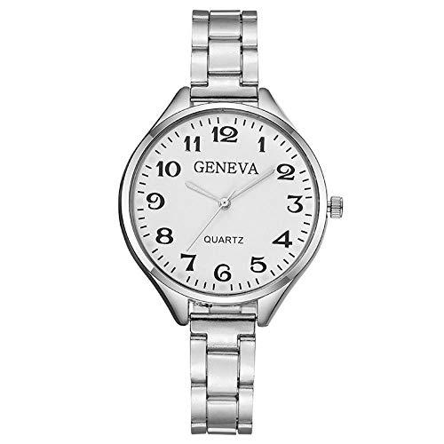 Reloj de Pulsera para Mujer Reloj de Pulsera con Esfera Grande Banda de Acero Fino Reloj de Pulsera para Mujer-Plata