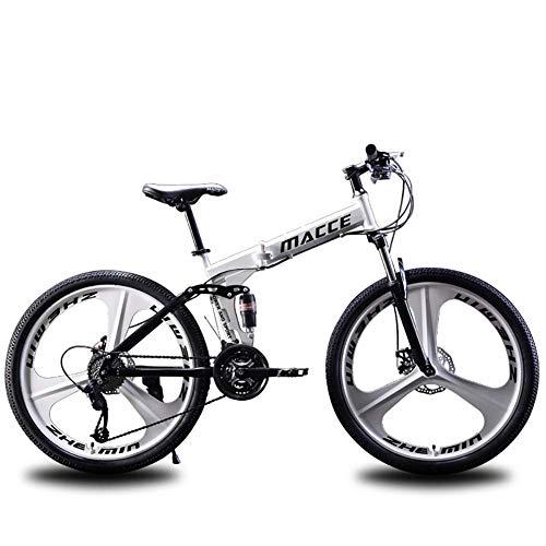 F-JWZS Herren-Mountainbike, 21/24/27 Geschwindigkeit Unisex 26 Zoll Doppelt Gefedertes Faltrad, mit Scheibenbremse, für Schüler, Kinder, Erwachsene Pendlerstadt,White,21speed