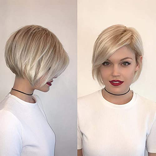 Baruisi Short Blonde Wigs for White Women Layered Synthetic Side Part Straight Bob Wig Halloween Party Cosplay Hair with Wig Cap