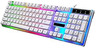 G21 Keyboard Wired USB Gaming Mouse Flexible Polychromatic LED Lights Computer Mechanical Feel Backlit Keyboard -White
