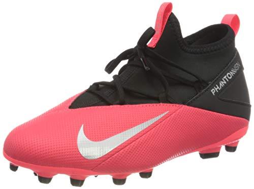 Nike Jr. Phantom Vision 2 Club Dynamic Fit MG, Scarpe da Calcio Unisex-Bambini, Carmesí Láser/Nero/Plata Metalizado, 32 EU