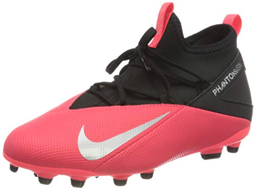 Nike Jr. Phantom Vision 2 Club Dynamic Fit MG, Football Shoe Unisex-Child, Carmesí Láser/Negro/Plata Metalizado, 33 EU
