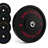 Body Revolution 5kg PAIR Olympic Bumper Weight Plates - 2 Inch Rubber Barbell Weights for Weightlifting and Strength Training