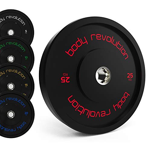 Body Revolution 10kg PAIR Olympic Bumper Weight Plates - 2 Inch Rubber Barbell Weights for Weightlifting and Strength Training