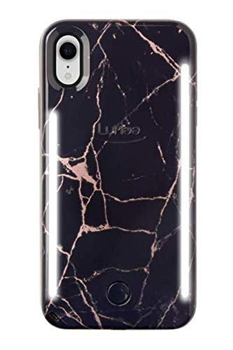 LuMee Duo Phone Case, Metallic Rose Black Marble | Front & Back LED Lighting, Variable Dimmer | Shock Absorption, Bumper Case, Selfie Phone Case | iPhone XR Only