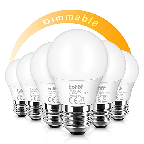 Eofiti 6er E27 LED Dimmbar Warmweiß 6W LED E27 Birnen Lampe Ersetzt 50W Glühbirnen Kein Flackern 2700K 600 Lumen 230V Edison-Schraubgewinde E27 Leuchtmittel Hohe CRI 82Ra Hell 360° Abstrahlwinkel