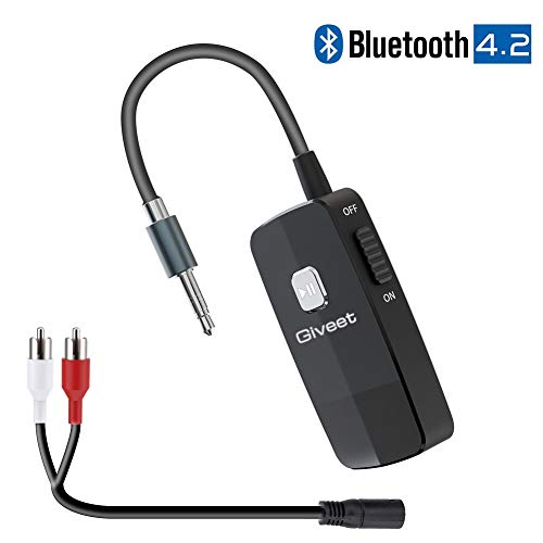 Giveet Bluetooth V4.2 Audio Receiver, Wireless Portable Bluetooth Adapter with 3.5 mm Aux Output for Home Stereo Hi-Fi Music Streaming, Car Audio System, Wired Headphones & Speaker (Not for TV)