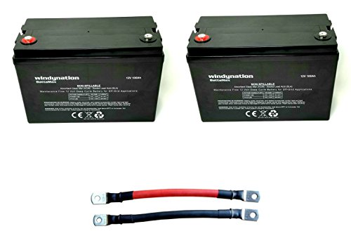 2pcs WindyNation 100 amp-Hour 100AH 12V 12 Volt AGM Deep Cycle Sealed Lead Acid Battery - Solar RV UPS Off-Grid (2 pcs 100 amp-Hour)