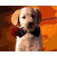 数字によるDIYデジタル絵画パッケージローズ犬油絵壁画キットぬりえ壁アート画像ギフトフレームなし40×50センチ