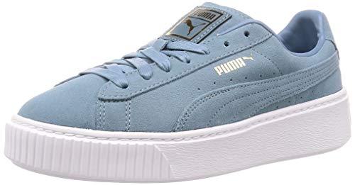 Puma Suede Platform Sneaker Damen, Mehrfarbig (Bluestone-Puma Team Gold 13), 42 EU