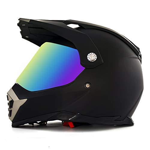 LGGQDC Casco de Motocicleta, Casco de Motocicleta Todoterreno, Doble Deporte, Visera de Cara Completa, Moto de Cross, ATV, Motocross con Visera para Adultos-M