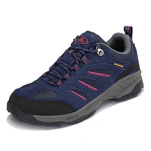 TFO Damen Trekking & Wanderschuhe Atmungsaktive Walkingschuhe Sport Outdoor Schuhe mit Gedämpfter Sohle, Violett Blau, 38.5 EU